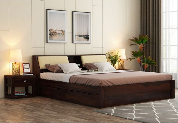 Beds, best bed design, Space Saving Beds, Sheesham wood double bed with storage in king size bed design