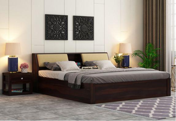 Walken Hydraulic Bed (Queen Size, Walnut Finish)