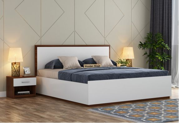 Bartha Bed With Box Storage (Queen Size, Exotic Teak-Frosty White Finish)