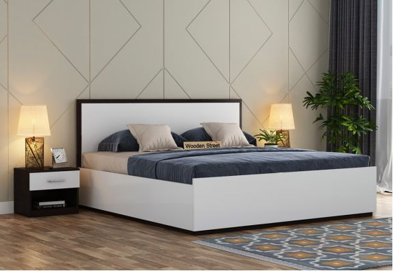Bartha Bed With Box Storage (Queen Size, Flowery Wenge-Frosty White Finish)