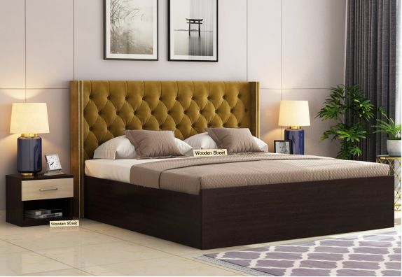 Drewno Upholstered Bed With Box Storage (Queen Size, Flowery Wenge Finish, Chestnut Brown)