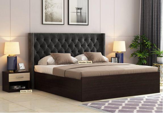 Drewno Upholstered Bed With Box Storage (King Size, Flowery Wenge Finish, Graphite Grey)