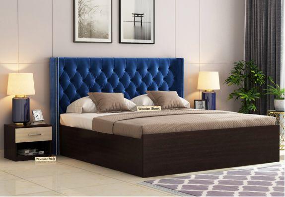 Drewno Upholstered Bed With Box Storage (King Size, Flowery Wenge Finish, Indigo Blue)