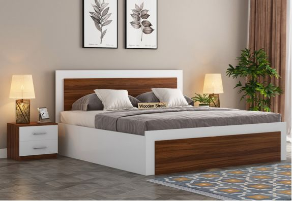 Harper Bed With Box Storage (King Size, Exotic Teak-Frosty White Finish)