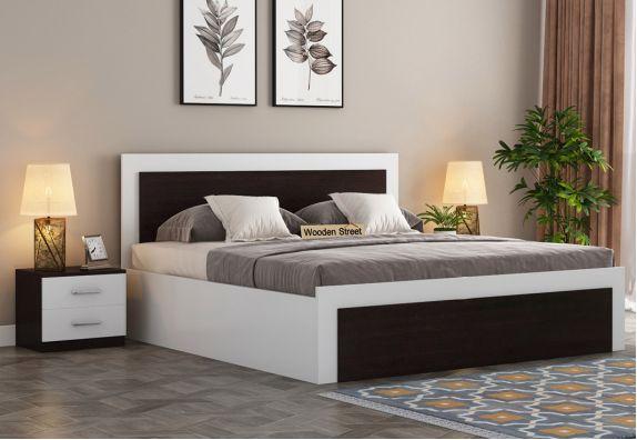 Harper Bed With Box Storage (King Size, Flowery Wenge-Frosty White Finish)