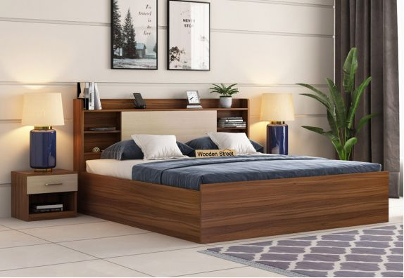 Nectar Bed With Box Storage (King Size, Exotic Teak Finish)