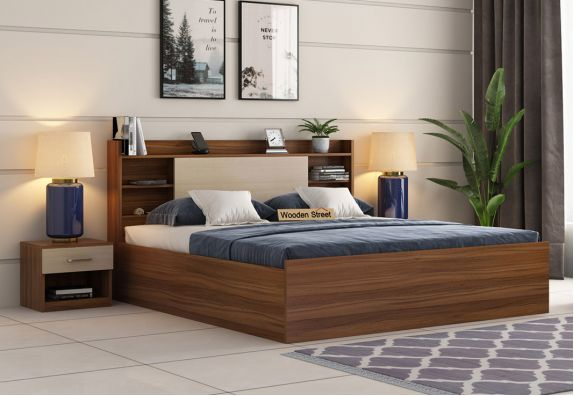 Nectar Bed With Box Storage (Queen Size, Exotic Teak Finish)
