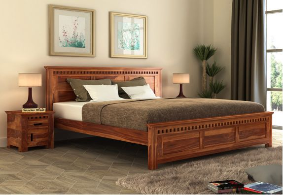 Queen Size Bed in bangalore (Honey Finish)