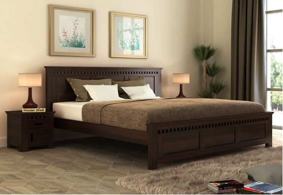 Adolph Compact Bed Without Storage (King Size, Walnut Finish)