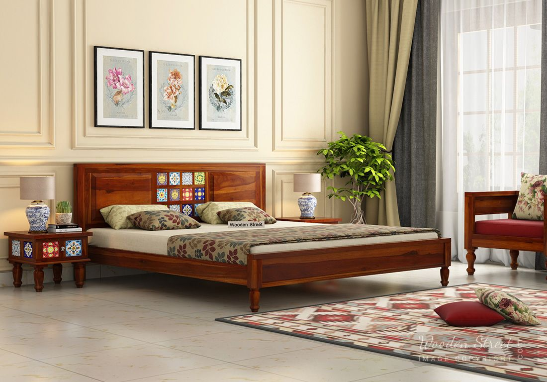 Picture of: Buy Boho Bed Without Storage King Size Honey Finish Online In India Wooden Street