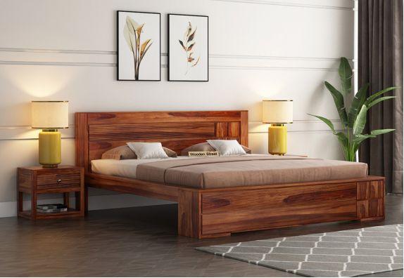 Catherine Bed Without Storage (King Size, Honey Finish)