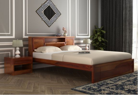 Ferguson Bed Without Storage (Queen Size, Honey Finish), sheesham wood queen size beds online in India