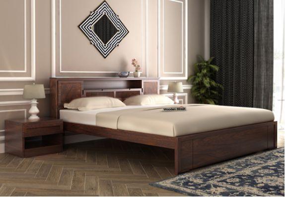 Ferguson Bed Without Storage (King Size, Walnut Finish)