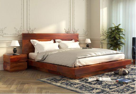 wooden platform bed designs online in India