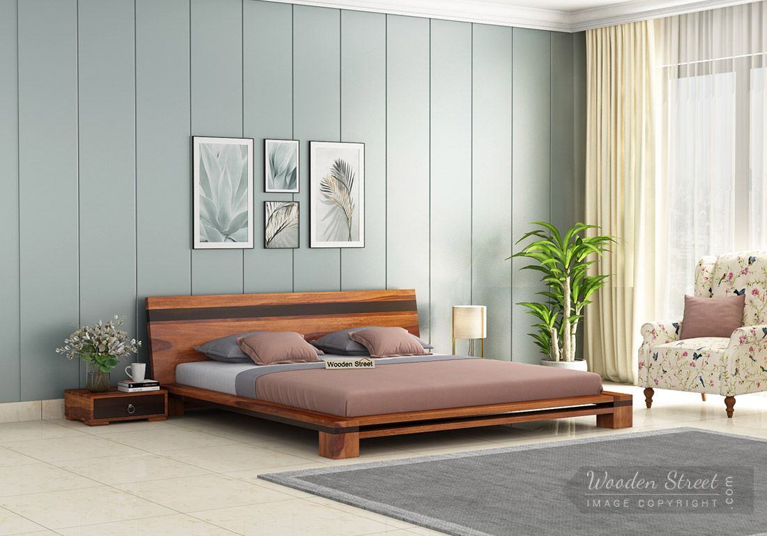 Buy Melisandre Low Floor Double Bed King Size Honey Finish Online In India Wooden Street