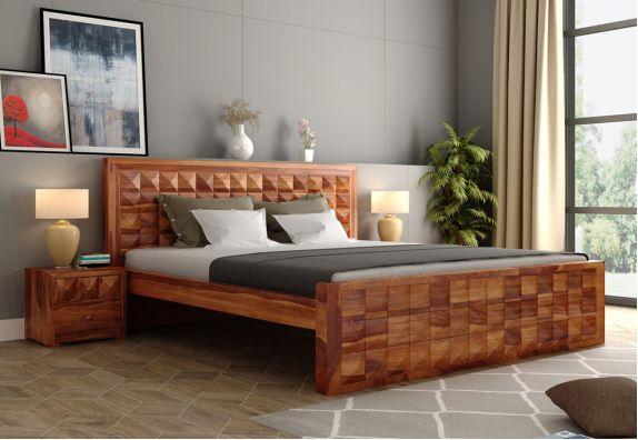 Morse Bed Without Storage (King Size, Honey Finish)