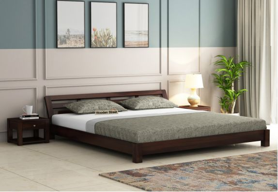 Rico Low Floor Bed (King Size, Walnut Finish)