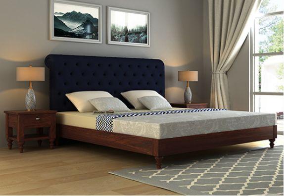 King Size Cot Online, Platform bed with storage, Sleek Upholstered Bed Online Shopping