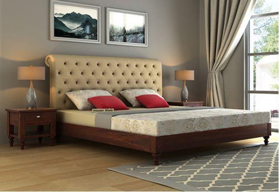 Custom Upholstered Beds Online India, king size beds in India, buy double beds in India, double cots online