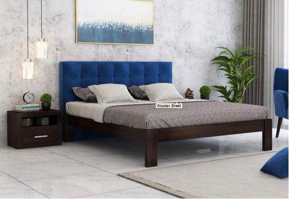 Wagner Upholstered Bed Without Storage (Queen Size, Indigo Blue)