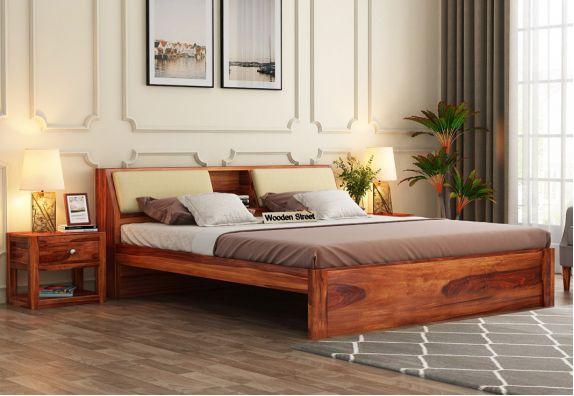 Walken Bed Without Storage (King Size, Honey Finish)