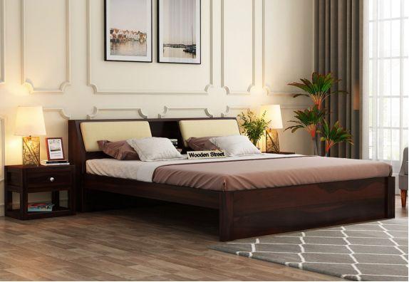 Walken Bed Without Storage (Queen Size, Walnut Finish)