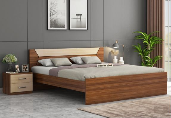 Carmen Bed Without Storage (King Size, Exotic Teak Finish)