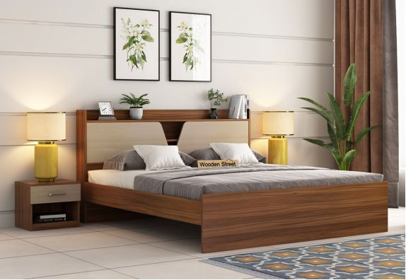 Evaline Bed Without Storage (King Size, Exotic Teak Finish)