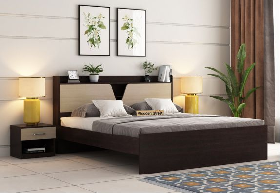 Evaline Bed Without Storage (Queen Size, Flowery Wenge Finish)