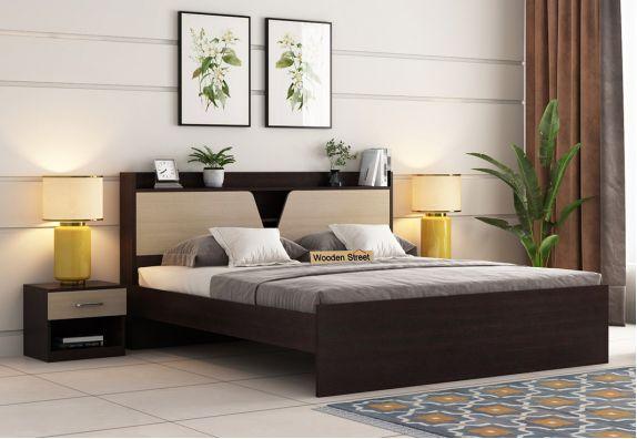 Evaline Bed Without Storage (King Size, Flowery Wenge Finish)