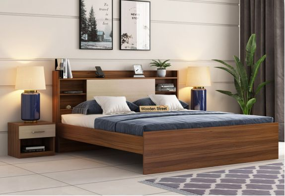 Nectar Bed Without Storage (Queen Size, Exotic Teak Finish)