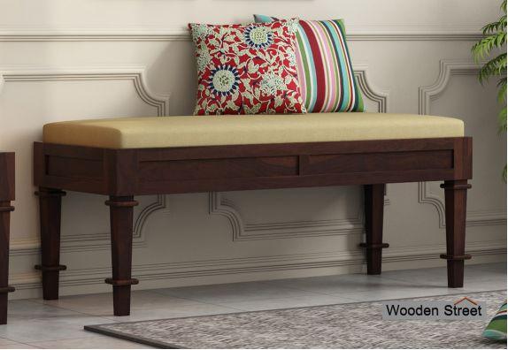 Agora Bench with Upholstery (Walnut Finish)