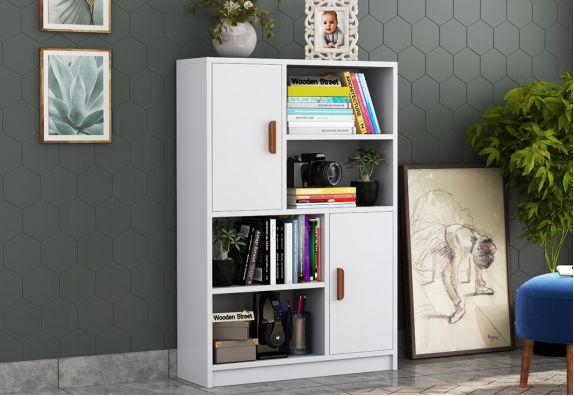Calde Book Shelf with Storage (White Finish)