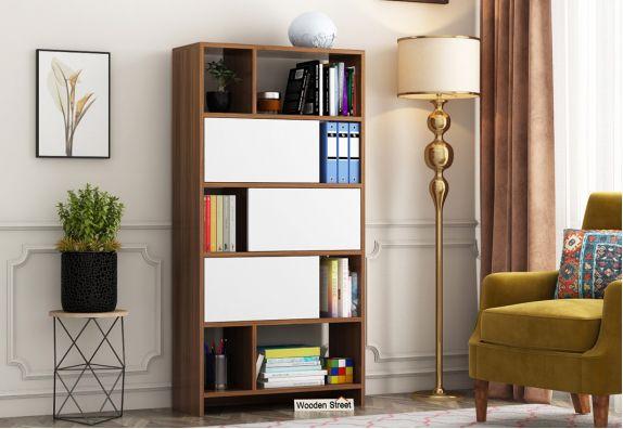 Creva Bookshelf with Frosty White Drawer (Exotic Teak Finish)