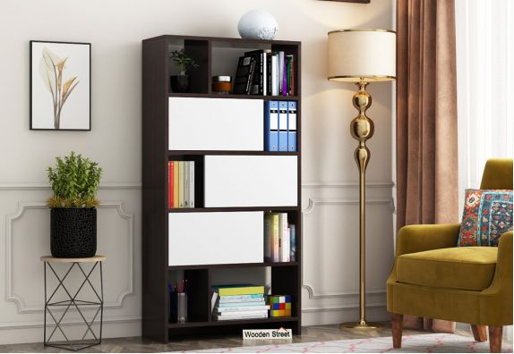 Creva Bookshelf Drawer (Flowery Wenge-Frosty White Finish)