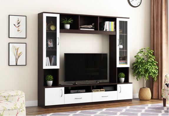 House of Storage TV Unit (Flowery Wenge-Frosty White Finish)