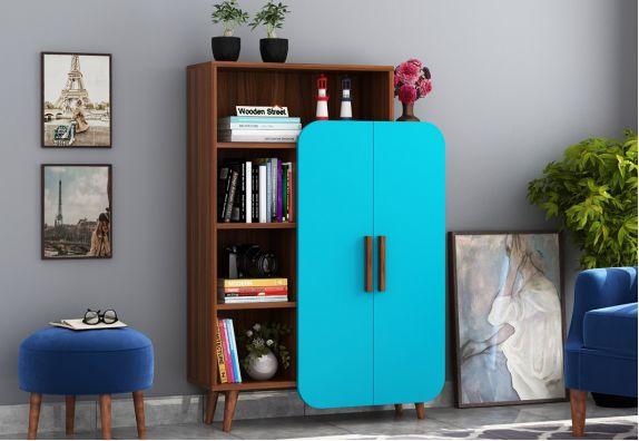 Ren Kids Wardrobe with Book Shelf (Exotic Teak Finish, Celestial Blue)