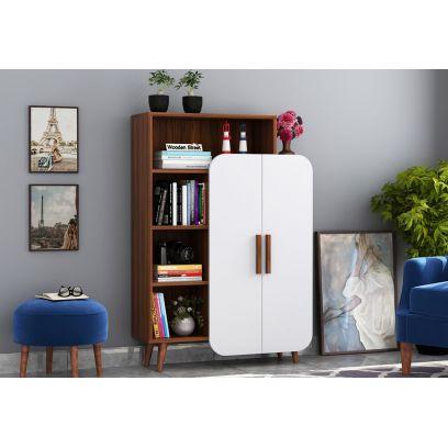 Ren Kids Wardrobe with Book Shelf (Exotic Teak Finish, White)