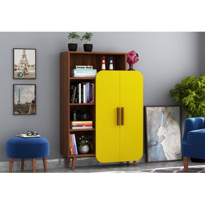 Ren Kids Wardrobe with Book Shelf  (Exotic Teak Finish, Marigold Yellow)