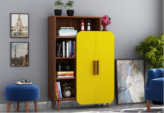 Ren Kids Wardrobe with Book Shelf  (Exotic Teak Finish, Marigold Yellow)