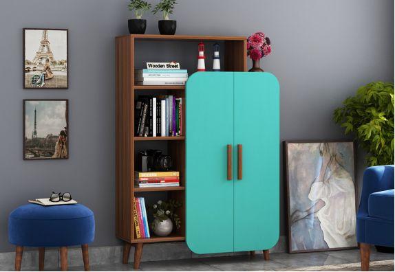 Ren Kids Wardrobe with Book Shelf (Exotic Teak Finish, Teal Blue)