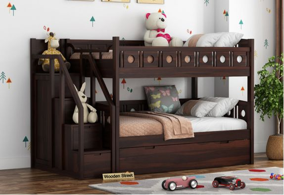 Buy Wooden Bunk Beds with Storage Online | double decker bed for kids