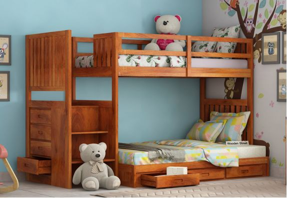Exclusively wooden bunk beds design for kids