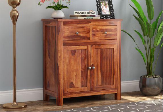 Clovis Cabinet With Drawers (Honey Finish)