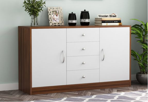 Gavin Sideboard with Frosty White Drawer (Exotic Teak Finish)