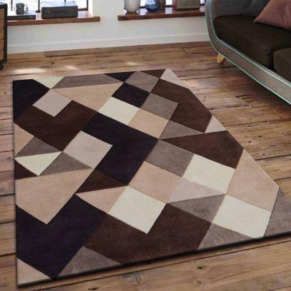 Beige And Brown Geometric Pattern Hand Tufted Wool Carpet - 6 x 4 Feet