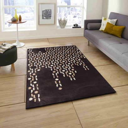 Beige And Ivory Abstract Pattern Hand Tufted Wool Carpet - 8 x 5 Feet