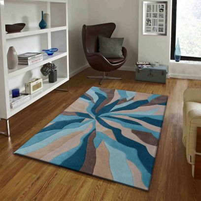 Blue And Beige Abstract Pattern Hand Tufted Wool Carpet - 6 x 4 Feet