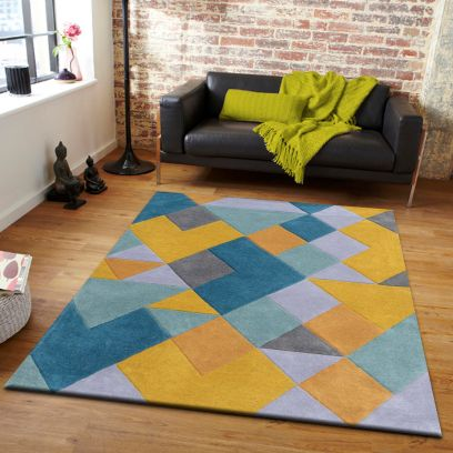 Gold And Blue Geometric Pattern Hand Tufted Wool Carpet - 9 x 6 Feet