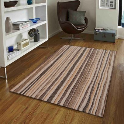 Stripes Pattern Brown And Beige Hand Tufted Wool Carpet - 5 x 3 Feet